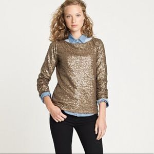 J. Crew Gold Sequined Top Long Sleeve Wide Neck